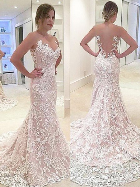 cfe665187f0d Trumpet/Mermaid Lace Sleeveless Sweetheart Sweep/Brush Train Wedding Dresses