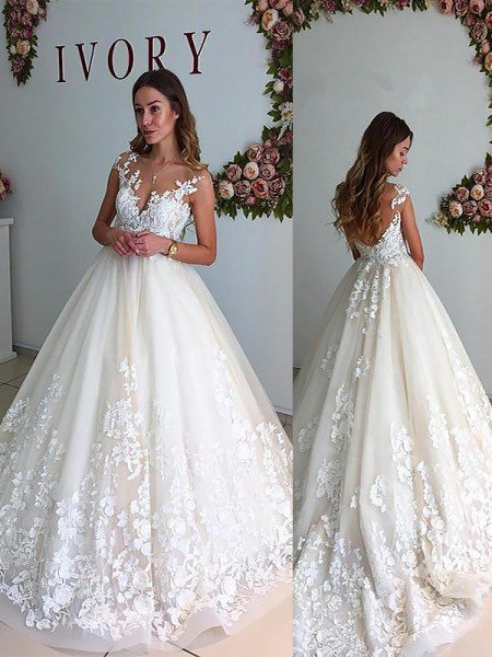 Wedding dresses 2018 cheap bridal gowns wedding dress 2018 hebeos a lineprincess v neck court train tulle sleeveless wedding dresses junglespirit Gallery