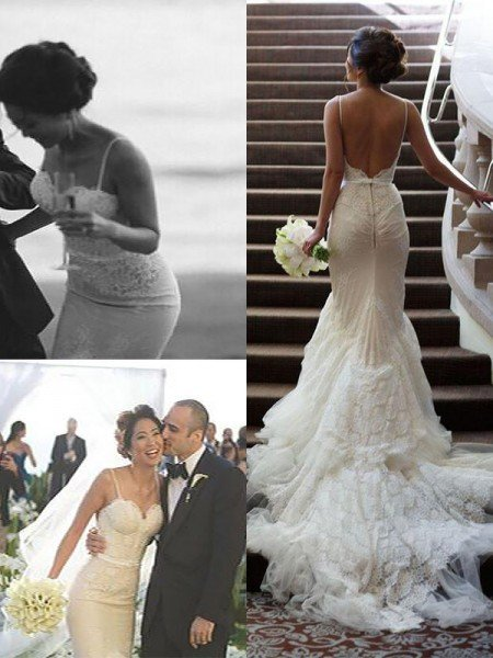 Trumpet/Mermaid Spaghetti Straps Court Train Lace Tulle Sleeveless Wedding Dresses
