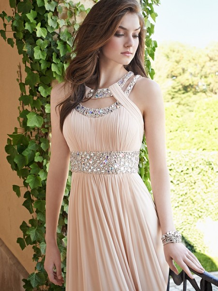 A-Line/Princess Bateau Beading Sleeveless Chiffon Floor-Length Dresses