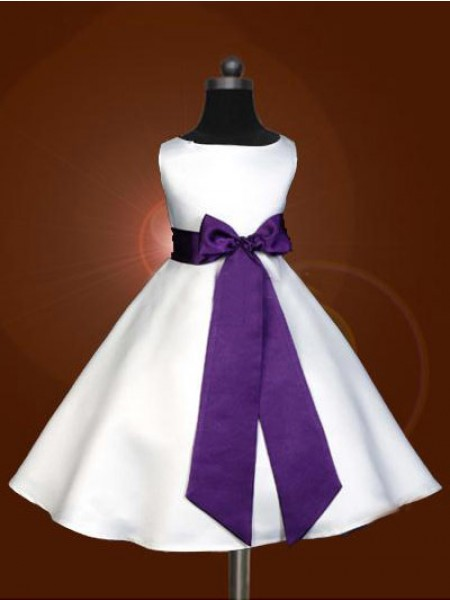 A-line/Princess Scoop Sleeveless Bowknot Long Satin Flower Girl Dresses