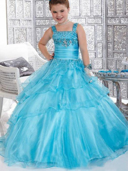 Ball Gown Straps Beading Sleeveless Long Organza Flower Girl Dresses