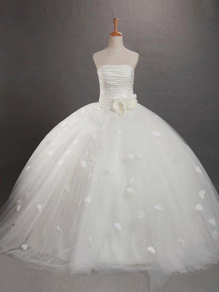 Ball Gown Strapless Ruffles Sleeveless Long Tulle Flower Girl Dresses