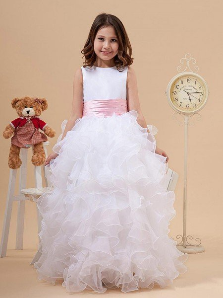 A-line/Princess Scoop Bowknot Sleeveless Long Organza Flower Girl Dresses