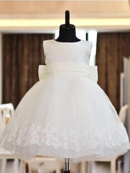 A-line/Princess Scoop Lace Sleeveless Long Organza Flower Girl Dresses