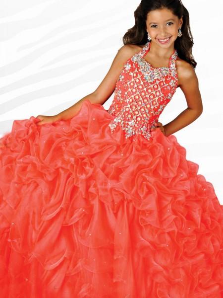 Ball Gown Halter Beading Sleeveless Long Organza Flower Girl Dresses