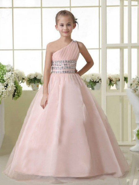 24efe1dc A-line/Princess One-shoulder Sleeveless Beading Long Organza Flower Girl  Dresses