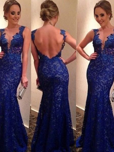 Trumpet/Mermaid V-neck Sleeveless Applique Sweep/Brush Train Lace Dresses