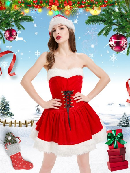 Stunning Polyester With Hat Christmas Clothes