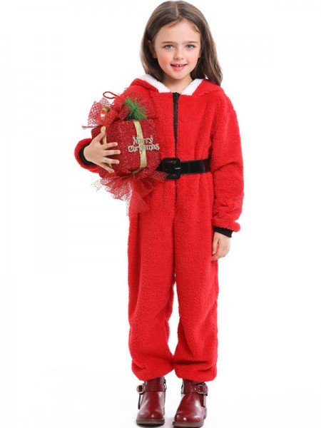 Cute Polyester With Belt Christmas Clothes For Children