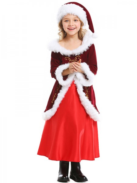 Beautiful Polyester With Belt Christmas Clothes For Children