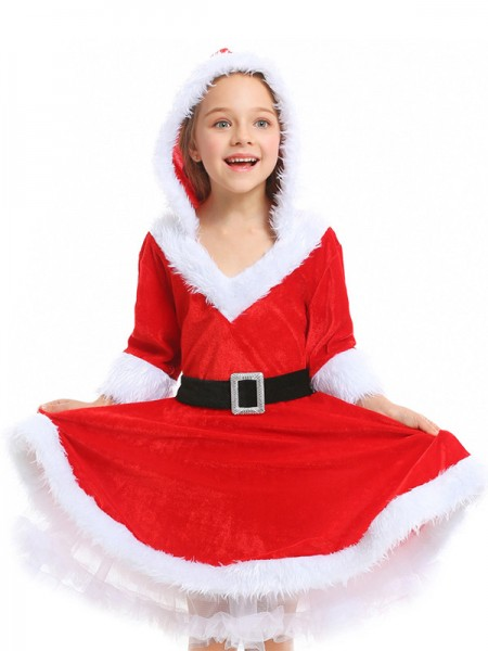 Lovely Polyester With Belt Christmas Clothes For Children