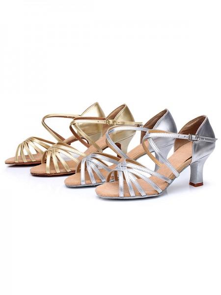 Women's Satin Cone Heel Buckle Peep Toe Sandals