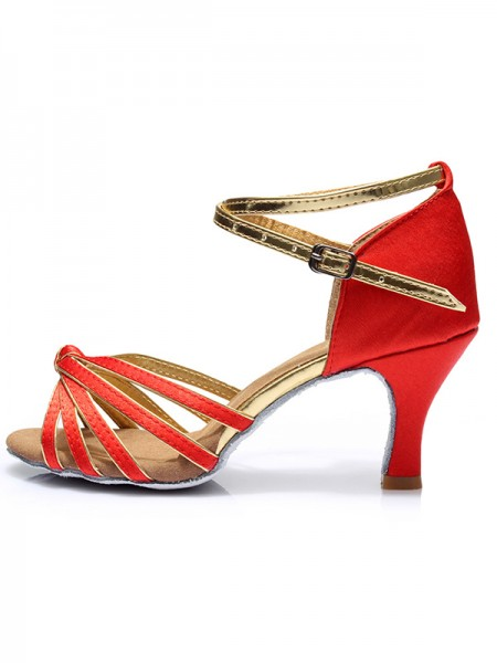 Women's Kitten Heel With Buckle Satin Peep Toe Sandals