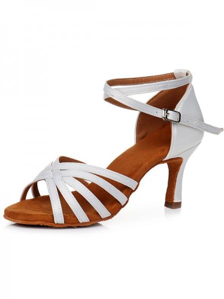 Women's Peep Toe Buckle Satin Cone Heel Sandals