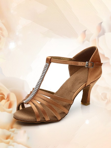 Women's Satin Peep Toe Kitten Heel With Buckle Sandals