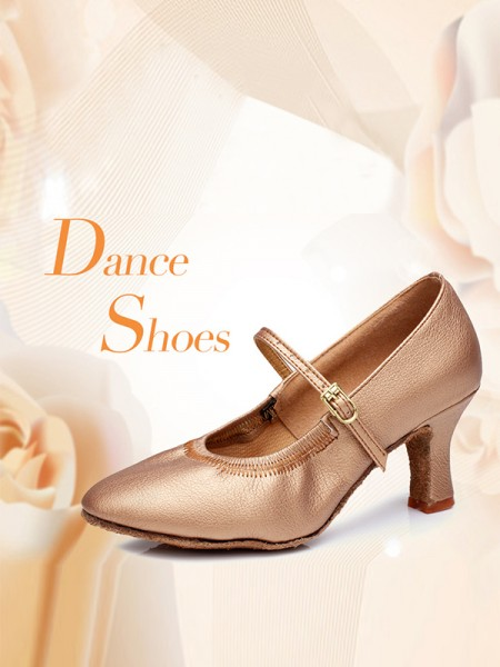 Women's PU Buckle Closed Toe Cone Heel Dance Shoes