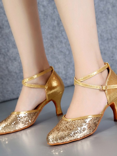 Women's PU Closed Toe Cone Heel Sparkling Glitter Dance Shoes
