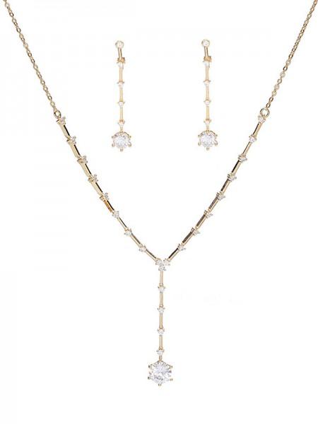 Occident Attractive Rhinestone Wedding Bridal Jewelry Set
