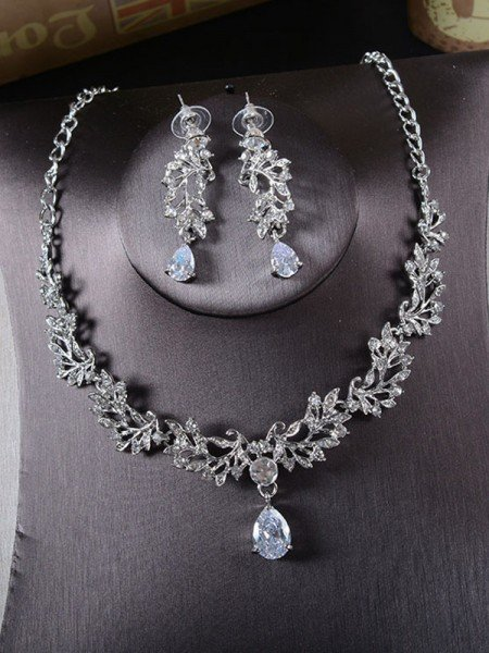 Korean Beautiful Alloy With Rhinestone Ladies's Jewelry Set