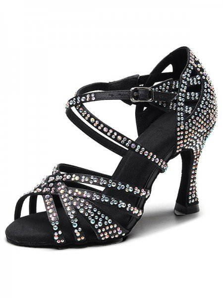 Women's Suede Peep Toe With Rhinestone Chunky Heel Sandals