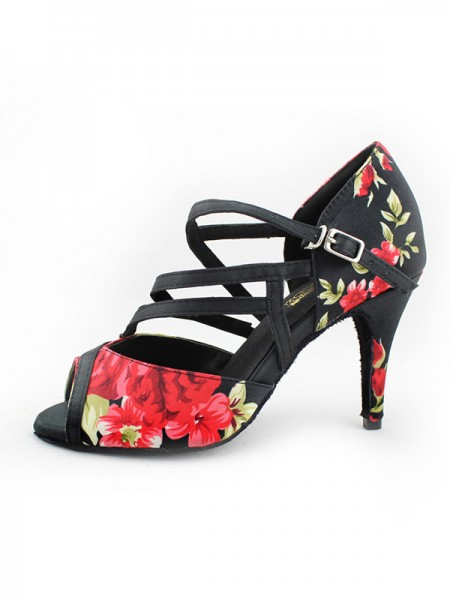 Women's Satin Peep Toe With Ankle Strap Chunky Heel Sandals