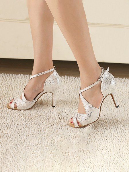 Women's PU Peep Toe With Ankle Strap Stiletto Heel Sandals