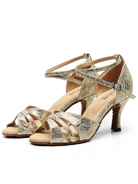 Women's Sparkling Glitter Peep Toe With Ankle Strap Chunky Heel Sandals