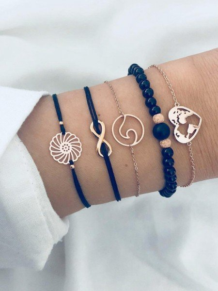 Cute Alloy With Heart Hot Sale Bracelets(5 Pieces)