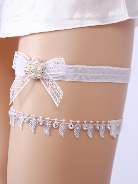 Awesome Bridal/Feminine Lace With Rhinestone/Imitation Pearl Garters