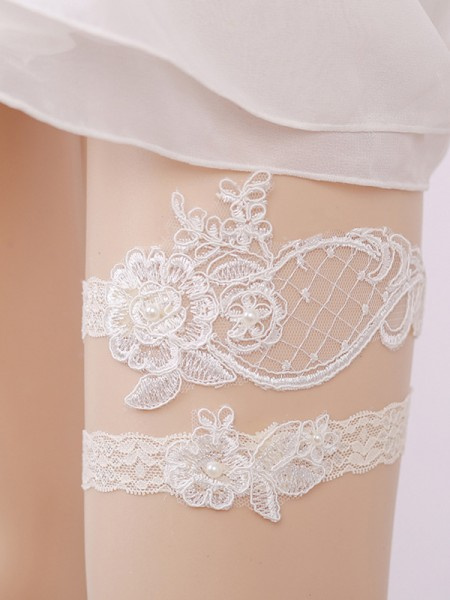 Pretty Bridal/Feminine Lace With Imitation Pearl Garters
