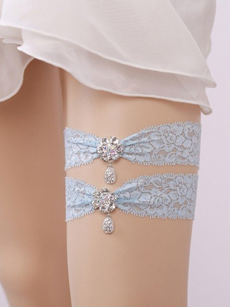 Gorgeous Bridal/Feminine Lace With Rhinestone Garters