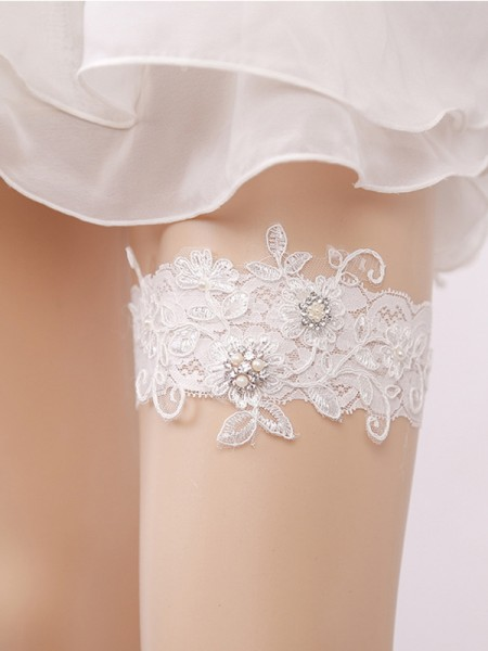 Gorgeous Bridal/Feminine Lace With Imitation Pearl Garters