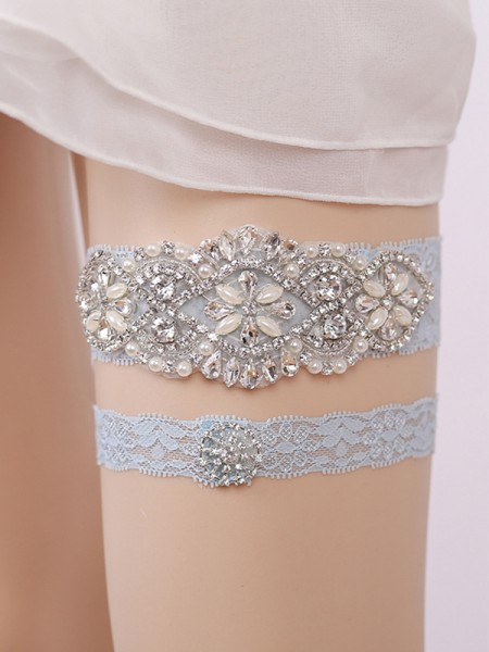 Graceful Bridal/Feminine Lace With Rhinestone/Imitation Pearl Garters