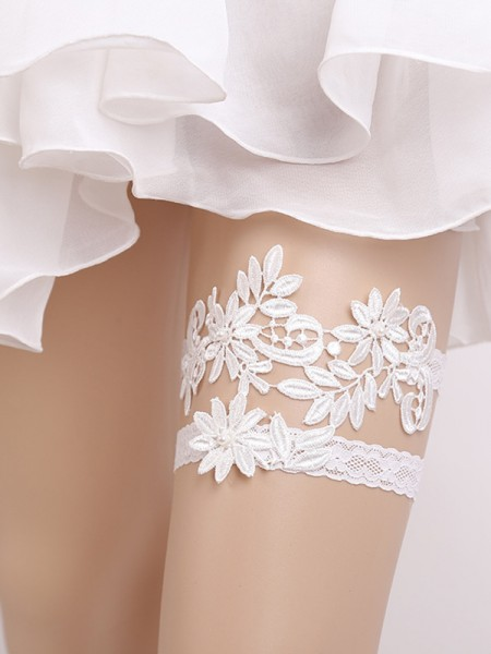Pretty Bridal/Feminine Lace With Applique Garters