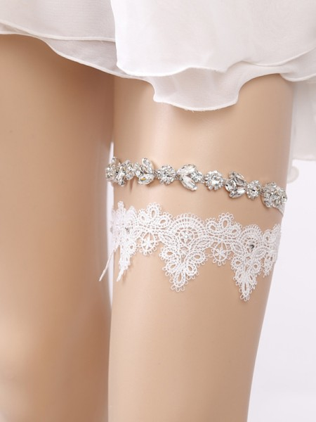 Bright Bridal/Feminine Lace With Rhinestone Garters