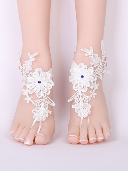 Delicate Bridal/Feminine Lace With Applique Anklets