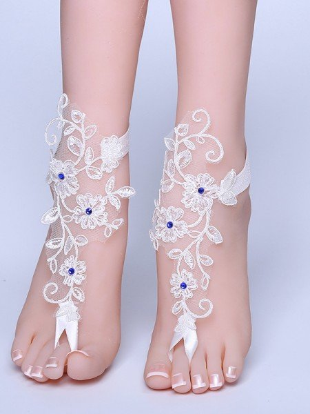 Graceful Bridal/Feminine Lace With Applique Anklets