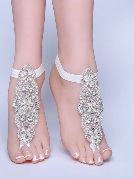 Gorgeous Bridal/Feminine Lace With Rhinestone Anklets
