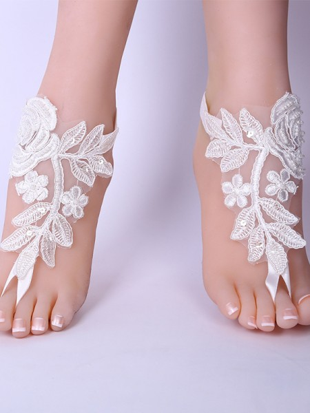 Unique Bridal/Feminine Lace With Applique Anklets
