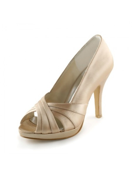 Women's Satin Stiletto Heel Peep Toe Platform Sandals Champagne Wedding Shoes