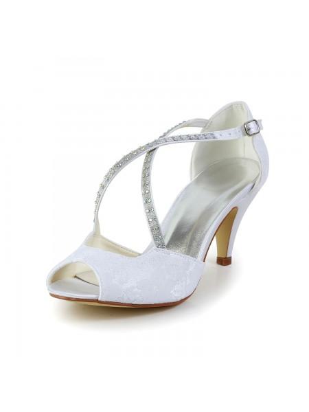 Women's Satin Cone Heel Peep Toe Sandals White Wedding Shoes With Rhinestone Buckle