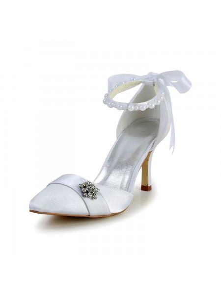 Women's Satin Stiletto Heel Closed Toe Dance Shoes Pearl