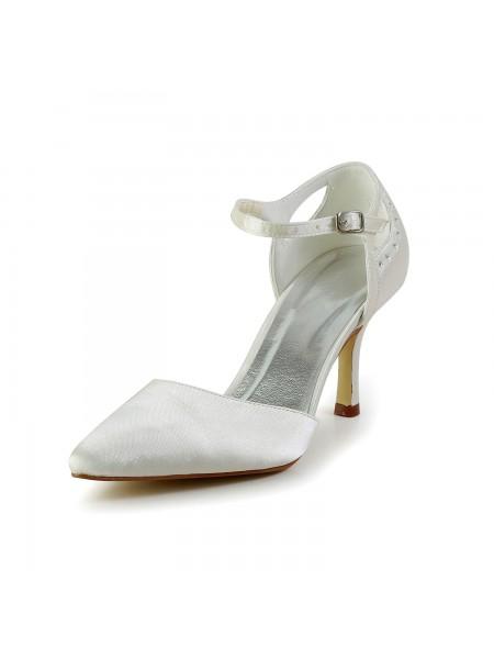 Women's Satin Stiletto Heel Closed Toe Pumps White Wedding Shoes
