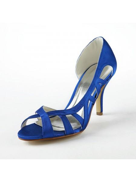 Women's Satin Upper Stiletto Heel High Heels Sandals Shoes