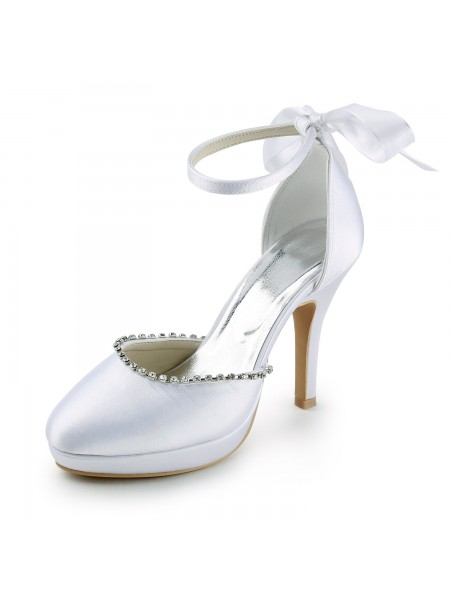 Women's Satin Stiletto Heel Closed Toe with Rhinestones White Wedding Shoes