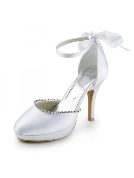 Women's Satin Stiletto Heel Closed Toe with Rhinestones White Wedding Shoes