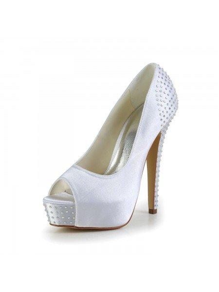 e511585a0760 Women s Satin Stiletto Heel Peep Toe Platform White Wedding Shoes With  Rhinestone