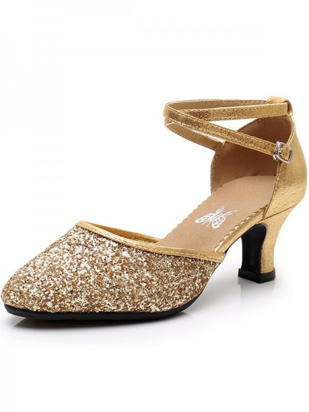 Women's Sparkling Glitter Cone Heel Closed Toe Sandals