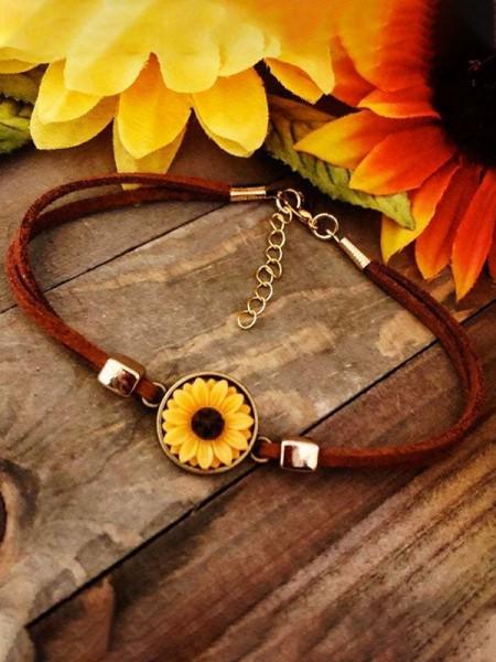 Art Cute Leather Rope Alloy Sunflower Bracelets